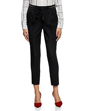 oodji Ultra Mujer Pantalones Rectos con Elástico
