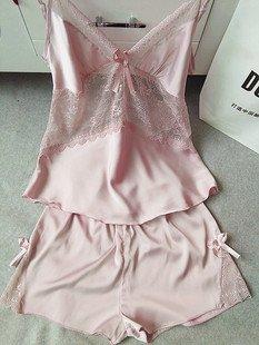MH-RITA Temperament Frauen nachtwäsche Schlafanzüge sets Sommer stil ärmelloses Schlafanzüge sets Großhandel 2017 hohe Qualität Frauen homewear Rosa set (Roben Großhandel Satin)