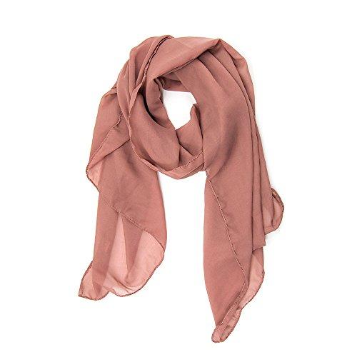 ManuMar Schal für Damen | feines Hals-Tuch in braun Unisex-Farben Uni-farben als perfektes Sommer-Accessoire | Das ideale Geschenk für Frauen (Super Polyester Feine)
