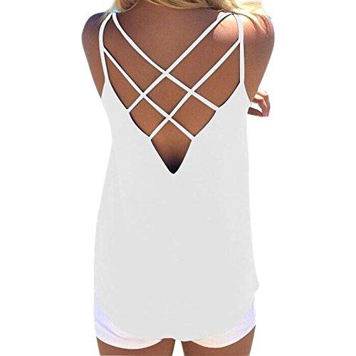 LAEMILIA Débardeur Femme Sans Manches Dos Nu Sexy Bretelles Tops Gilet Vest T-shirt Blouse Haut Été Clubwear Plage Blanc