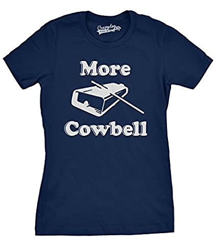 Womens More Cowbell T shirt Funny Novelty Shirts Humor Gifts Cool Graphic (blue) XXL