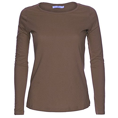 Fashion Essential-Womens Long Sleeve Plain Runde Rundhalsausschnitt Mocha