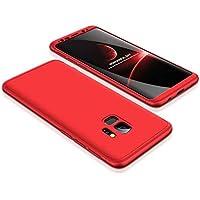 Funda Samsung Galaxy S9 Plus Cubierta de 360°Caja protectora PC Shell duro Anti-Shock A prueba de choques Almohadilla anti-rasguño del protector completo del cuerpo 360 grados Cubierta completa Caso mate de la protección 3 en 1(Red)