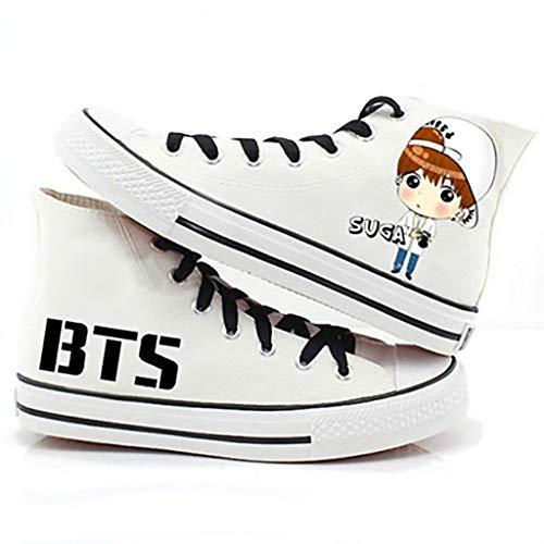 Bts Schuhe BTS mit dem gleichen Absatz handbemalte Mode Hip-Hop-Stil Low-Top-Schuhe / Teammitglieder Design Cartoon Charakter Segeltuchschuhe / Gummi rutschfeste verschleißfeste Studentenschuhe (Größe - Idol-hip Hop