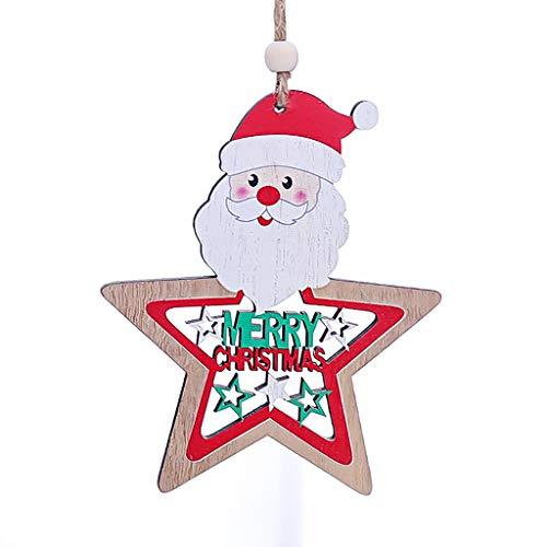 Mitlfuny Festival Weihnachten Halloween Oktoberfest Karneval Zubehör,Dress up,Dekoration, Hölzerner Stern malte hängende Stücke der hängenden Anhängerweihnachtsbaumdekorationzusätze -