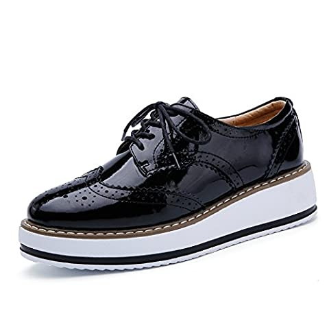 AG366-1heise35 EnllerviiD Women's Lace Up Patent Leather Oxford Shoes Platform Cut-Outs Brogue Students Fashion Sneakers Black