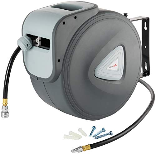 """Poppstar enrouleur de tuyau à air comprimé (tuyau: 30m + 2m, diamètre intérieur 3/8""""(9.5x15mm), 1/4""""NPT/BSPT), dévidoir automatique pour tuyau d'air rétractable"""