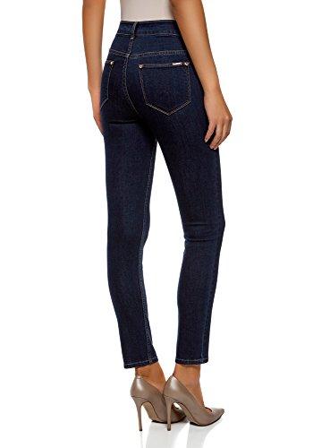 oodji Ultra Damen Jeans Skinny mit Hohem Bund Blau (7900W)