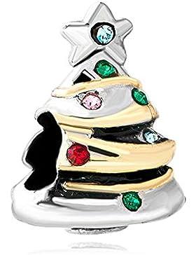 Uniqueen Charm-Perle, Weihnachtsbaum-Design, Geschenkidee, rot / grün, Geburtsstein-Kristall, Charm-Perle für...