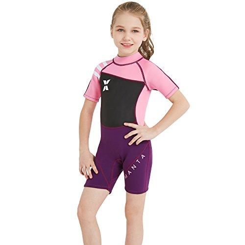 GWELL Jungen Mädchen Kinder Neoprenanzug 2.5MM Neopren Kurzarm Wäremehaltung UV-Schutz Tauchanzug Badeanzug für Wassersport Rosa M
