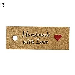 Vektenxi Premium-Qualitätsetikett | 100 Stücke Kraftpapier Danke Merci Handmade mit Liebe Gedruckt DIY Geschenk Label Tag 3