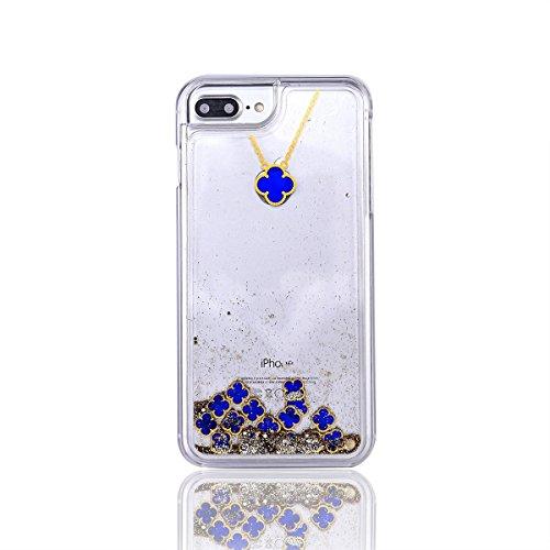 Glitzer Hülle Für iPhone 7,Transparent Hülle Für iPhone 7 Clear Glitzer Liquid Crystal Hard Case,EMAXELERS iPhone 7 Hülle Blumen,iPhone 7 Hülle Flamingo,iPhone 7 Hülle Bling Glitzer Cristal 3D Kreativ I Clover 3