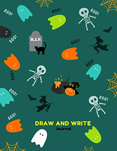al: Primary Composition Notebook for Kids with Date and Dot Grid Drawing Area | Green Halloween Fancy Design ()