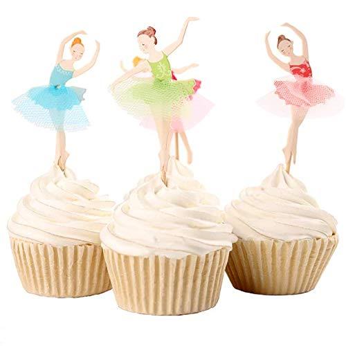 Uoeo 32Pack Birthday Cake Topper Ballerina Tortenaufsatz, Party Kuchen Dekorationen Geburtstag Kuchen Topper (Ballerina Dekoration Geburtstag Party)