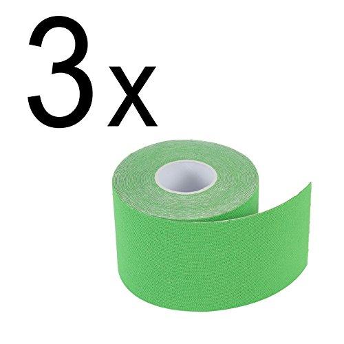 3er Pack: 2-TECH Hautfreundliches Kinesiologie Tape 5 cm x 5 Meter in Grün für elastische Tapeverbände