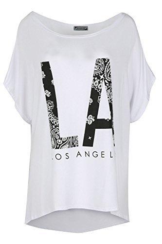 Be Jealous Damen Übergröße Fledermausärmel Schulterfrei Bardot Schlabber Lagenlook Top La Los Angeles Weiß