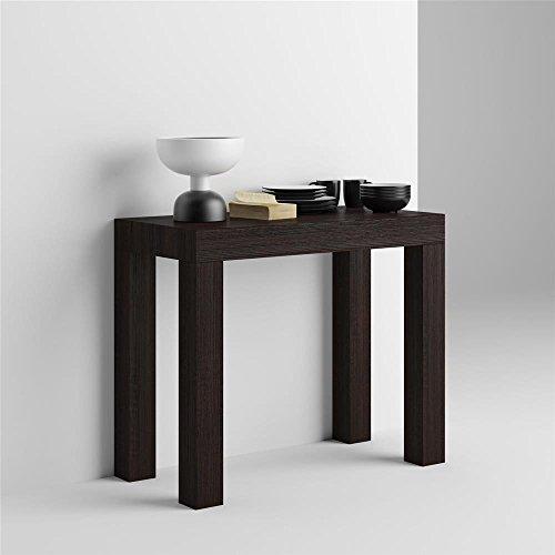Mobilifiver tavolo consolle allungabile first, rovere moro, 90 x 45 x 75 cm, nobilitato/alluminio, made in italy, disponibile in vari colori