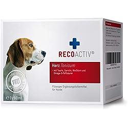 RECOACTIV® Herz Tonicum für Hunde, Herz Nahrungsergänzungsmittel für Hunde, 3 x 90 ml, Stärkungsmittel zur Rekonvaleszenz bei Herzinsuffizienz des Hundes