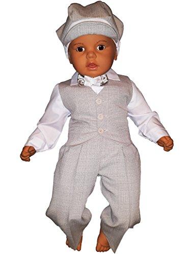Taufanzug, Festanzug, Jungenanzug, 5tlg,Beige-Weiß,Baby Junge Kinder Taufe Hochzeit Anzüge K10B Größe 68 - 2