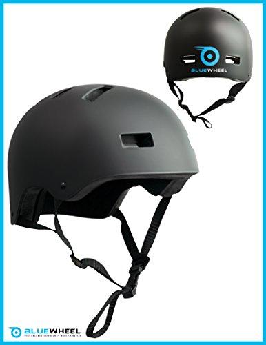 Bluewheel Helm H30 für Hoverboard, Inline-Skate, BMX Fahrrad; 3 schichtiger Aufbau für mehr Sicherheit und Tragekomfort, mit Belüftungssystem, passgenau in matt schwarz - für Kinder & Erwachsene (S: 50-56 cm (Kopfumfang))