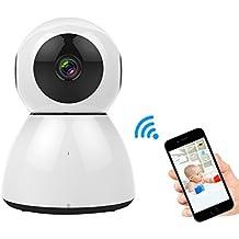 Cámara IP WiFi, M.Way 1080P 2MP HD Wireless P2P, 120 ° Gran Angular, Nube de Almacenamiento, 64G TF, Baby Monitor, Vigilancia Seguridad Interior, Llamada de Voz, Compatible iOS y Android Blanco