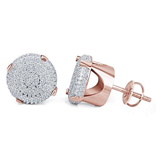 lilu Bijoux Femmes de froufrous Blanc Diamant Véritable Argent Sterling 925Boucles d'oreilles clous ronds à arrière à vis 14k Rose Gold Plated