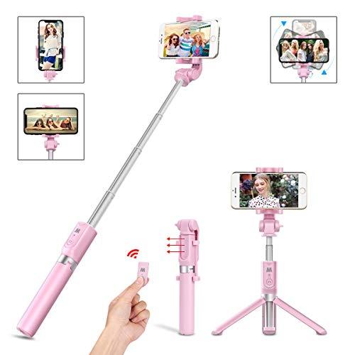 LATEC Bluetooth Selfie Stick Stativ, 3 in 1 Erweiterbar Monopod Wireless Selfie-Stange Stab 360°Rotation mit Bluetooth-Fernauslöse für iPhone XS/XR/X/8 Plus/8/Samsung Galaxy bis 3, 5-6 Zoll Telefone