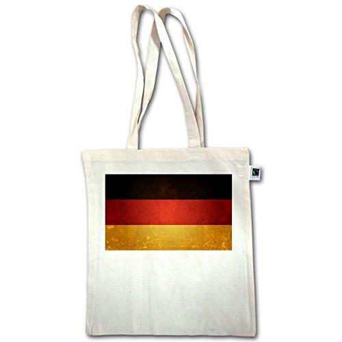 Fußball-WM 2018 - Russland - Flagge Deutschland - Unisize - Natural - XT600 - Jutebeutel lange Henkel