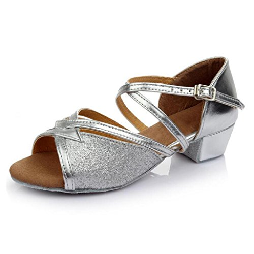W & Lm Miss Danse Chaussures Bouton Doux Or Flash Chaussures De Danse Latine Plat Et Paillettes Amitié Danse Chaussures Argent