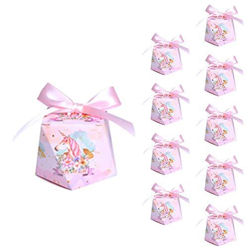 Lumanuby 10 x Caja de regalo Candy de Unicornio rosa papel Kraft caja de almohadas para bodas fiestas de cumpleaños dorado para boda bautizo cumpleaños Navidad graduación comunión
