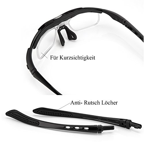 Fahrradbrille,Lypumso Sonnenbrille Polarisiert für Herren und Damen,Radbrille mit 5 Wechselgläsern UV400 Sportbrille für das Fahren Radsports Laufen Skifahren Angeln - 5