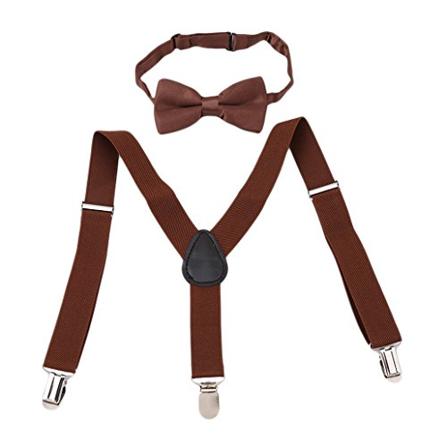 Chinget Kinder Jungen Mädchen Hosenträger Elastisch Einstellbare Braces Clip-On mit Fliege Set (kaffee)