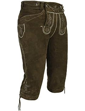 Spieth & Wensky - Herren Trachten Lederhose mit Stegträgern, Schwarz Oder Khaki, Vittorio H/ST (261947-0269)