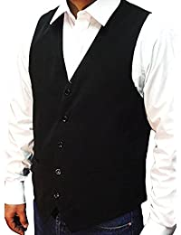 "NEW MEN'S BLACK WAISTCOAT SUPERB HIGH STREET QUALITY + FREE BOW-TIE, Size-XX Large 46"" **SAME DAY POSTING**"