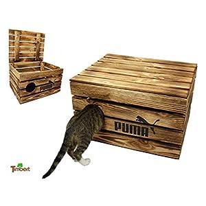 Rustikale Katzentruhe aus Holz Katzenhöhle in Obstkisten Design Katzenkorb mit Deckel für Katzen Katzenbett Holzkiste mit Kissen Schlafplatz