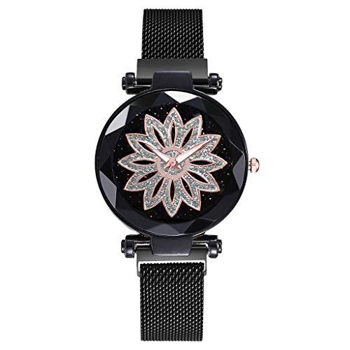 TWISFER Armbanduhr Frauen Analog Quarzuhr mit Mesh Magnetschnalle Armband Blumen Uhr Damen mit Glassteinen Lotus Uhr Damen Elegante Uhr Modische Uhren Damen