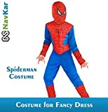 #7: NAVKAR Spiderman Costume Fancy Dress Outfit Suit Mask Children (7-8) / Spiderman Kids Costume Wear/ Birthday Party fancy Dress