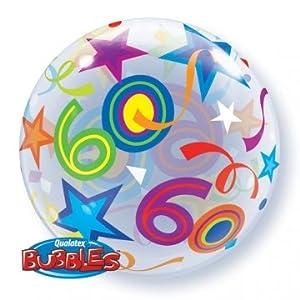 Qualatex 2417260brillante estrellas sola burbuja globo de látex, 55,9cm (22)