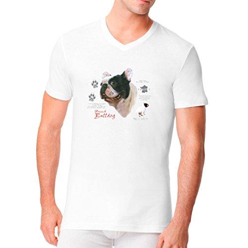 Im-Shirt - T-Shirt: Französische Bulldogge cooles Fun Men V-Neck - verschiedene Farben Weiß