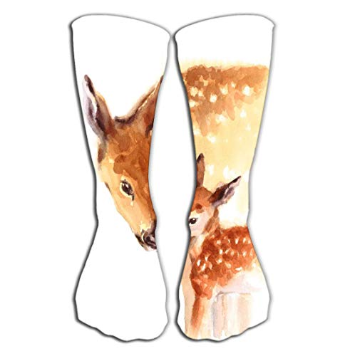 BAOLANZHANG Hohe Socken Outdoor Sports Men Women High Socks Stocking Mother Baby Deer Love Family Hand Painted Mother s Day Summer Isolated White Background Good Tile Length 19.7