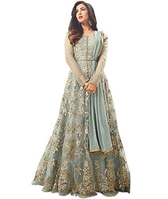 Indian Ethnic Net Baby Blue Abaya Suit Semi-stitched
