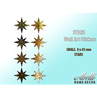 STAR Wall Art Stickers GLITTER GOLD (Small 8 x 45 mm), Abelli Home Decor