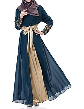 Highdas vestiti islamici abito caftano abaya maniche lunghe donne musulmane del Medio Oriente Chiffon Splice