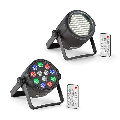 Beamz PLS15 Strobe LED-Stroboskop Set V7 (120 x 3528 SMD-LEDs, DMX- oder Standalone-Betrieb, LED-Display, Betrieb über integrierten Akku, mit Fernbedienung, im Set mit dem PLS25 Par LED-Strahler)