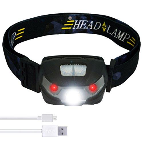 AXB - LED Stirnlampe/Kopflampe | LED Stirnlampen / Kopflampen | USB Aufladbar/ Wiederaufladbare Wasserdichtes Superhelle | LED Kopfleuchten | Rotlicht & Weiß Licht | handfreie Kopflampe | Sehr hell | wasserdicht | super hell | leicht & komfortabel | einfach zu bedienen | Ideal für Camping/Laufen/Angeln/Gassi gehen/Jagd und Lesen/Campinglampe/Aussenleuchte | Beste Ausrüstung Für Verwendung In Der Nacht | E-LINP | (Schwarz)