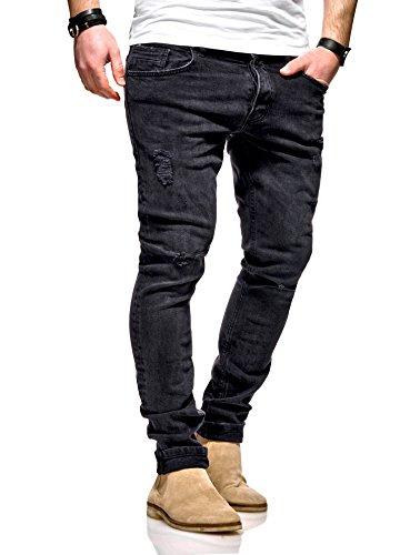 MT Styles Herren Jeans Slim Fit Hose JN-100 (Schwarz, W32/L32)