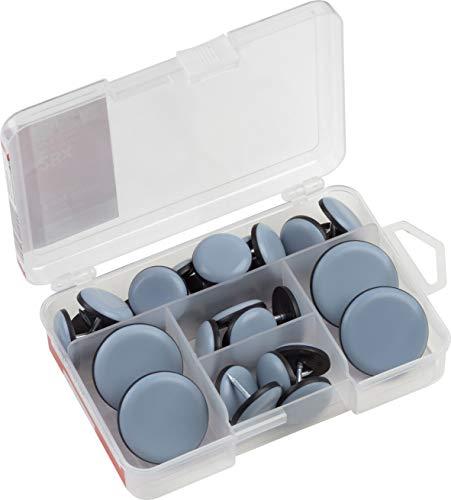Werkzeyt Easyglider-Sortiment 28-teilig - Mit Nagel - PTFE Gleitoberfläche - Für ein leichtes Verschieben schwerer Möbel / Universales Möbelgleiter-Set / Teflongleiter für eine Essgruppe / 647040