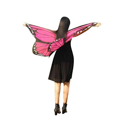 GJKK Daemn Dress-Up Böhmischen Schmetterling Gedruckt Schal Kostüm Zubehör Faschingskostüme Chiffon Schmetterling Kostüm Bauch Flügel Tanz Kostüm Butterfly Wings Schmetterlingskleid (Hot Pink, F) (Halloween-kostüm Butterfly Pink)