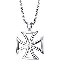 BOBIJOO Jewelry - Mayorista de Colgante, Collar, Cruz Pattée de los Caballeros Templarios de Acero Perforado Hombre + Cadena
