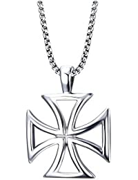 6baa883f691 BOBIJOO Jewelry - Gros Pendentif Collier Croix Pattée des Templiers Ajourée  Acier Homme + Chaîne